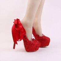 Handmade Red Lace Bride Buty Moda Glitter Szpilki Sukienka Buty Ślubne z Wstążką Łuk i Rhinestone Szpilki Kobiety Pompy