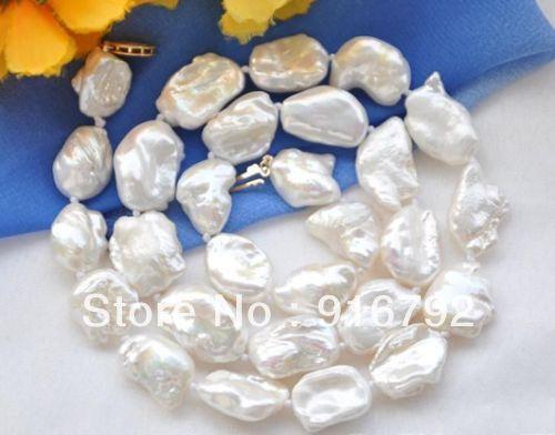 free P&P >>>>>20mm NATURE white DENS keshi REBORN pearl necklace