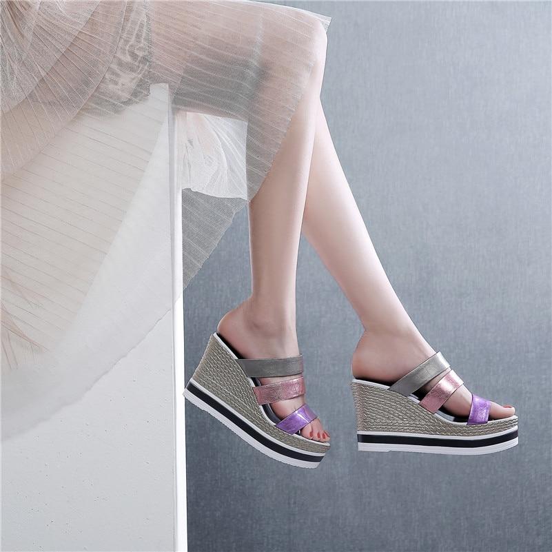Mujer Tacón Fiesta Cuero Multicolor Fedonas Zapatos Sandalias Calidad Mujeres De Alto Las Verano Charol Cuñas Dulce Nueva Púrpura Zzzq8x7Iw