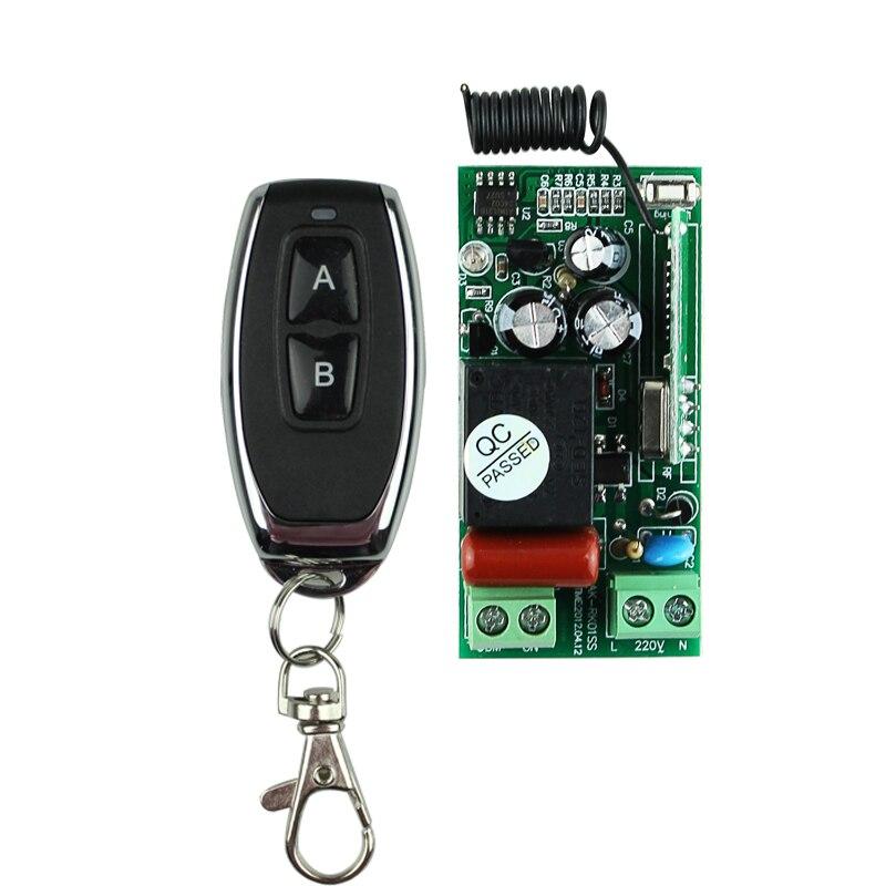 Meilleur Prix AC 220 V 1CH Télécommande Sans Fil Commutateur Système Récepteur Émetteur 2 Boutons En Métal À Distance 315 mhz/433.92 mhz