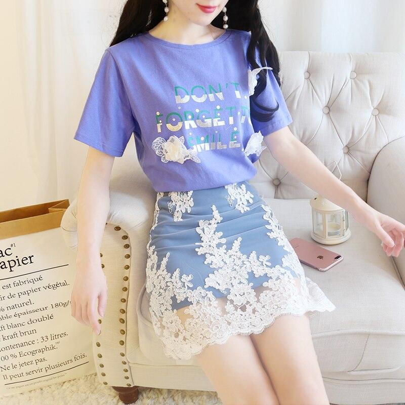 2018 été nouveau style coréen petit frais ludique deux pièces ensemble mode sauvage o-cou à manches courtes t-shirt avec jupe deux pièces 299