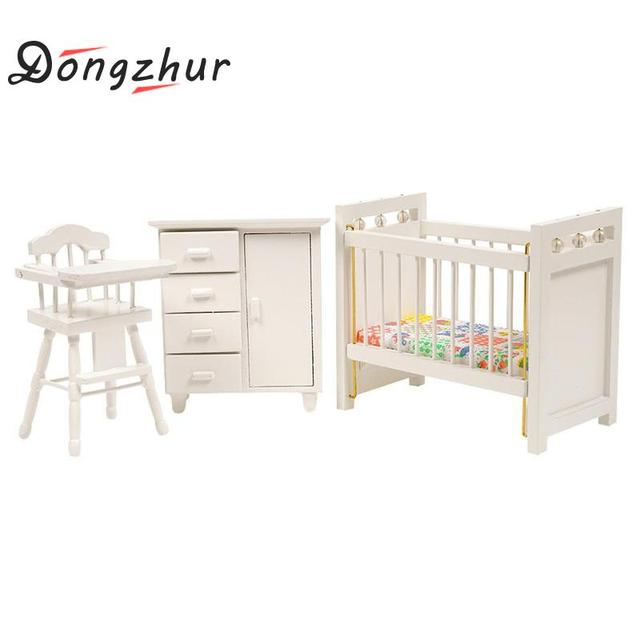 Dongzhur Bedroom Furniture Wooden Crib Baby Bed Chair Cabinet 1:12 Dollhouse Miniatures Accessories Children DIY Doll House Toy