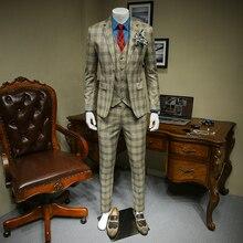 XM GEEKI Men Casual Suit Jackets Spring and Summer Suits Blazers Slim Fit Mens 3 Pieces Male Dark Khaki Plaid 365wt36