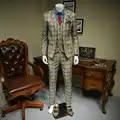 XM GEEKI hombres Casual traje chaquetas primavera y verano trajes Blazers Slim Fit hombres 3 piezas trajes hombre oscuro caqui traje de cuadros de 365wt36