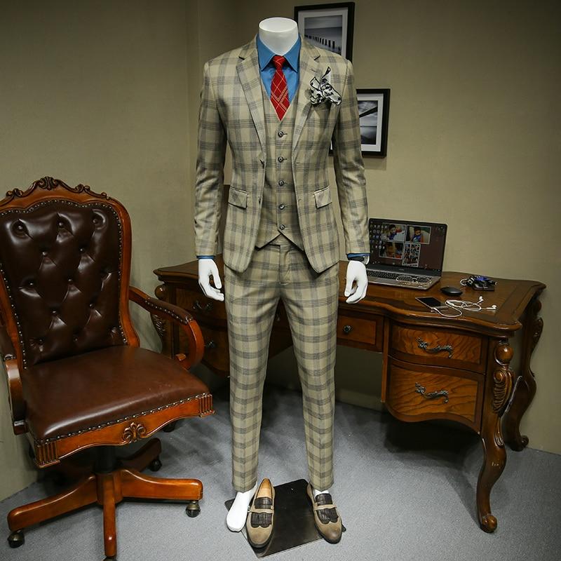 Xm geeki masculino casual terno jaquetas primavera e verão ternos blazers ajuste fino 3 peças ternos masculino khaki escuro xadrez terno 365wt36