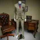 Xm geeki masculino casual terno jaquetas primavera e verão ternos blazers ajuste fino 3 peças ternos masculino khaki escuro xadrez terno 365wt36 - 1
