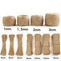 Экологичная пеньковая веревка, украшение «сделай сам» для дома, настольные сумки, высокое качество, витые диаметры 1-16 мм для 10 м, 50 м, 100 м, 200 м