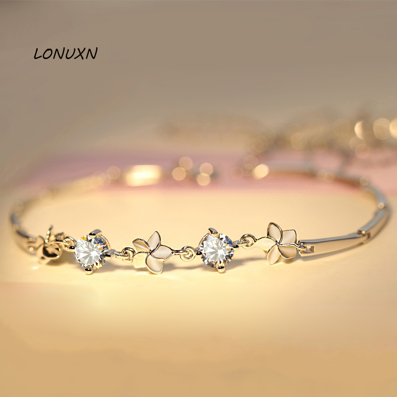 925 Sterling argent cinq fleurs haute qualité brillant blanc cristal bracelet simple version coréenne étudiants amoureux meilleurs cadeaux