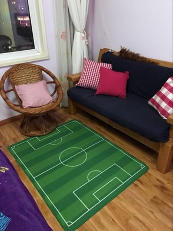 Unique Children Carpet Soccer Cartoon Kids Rug Boysu0027 Play Football Pitch  Green Rug Kids Living