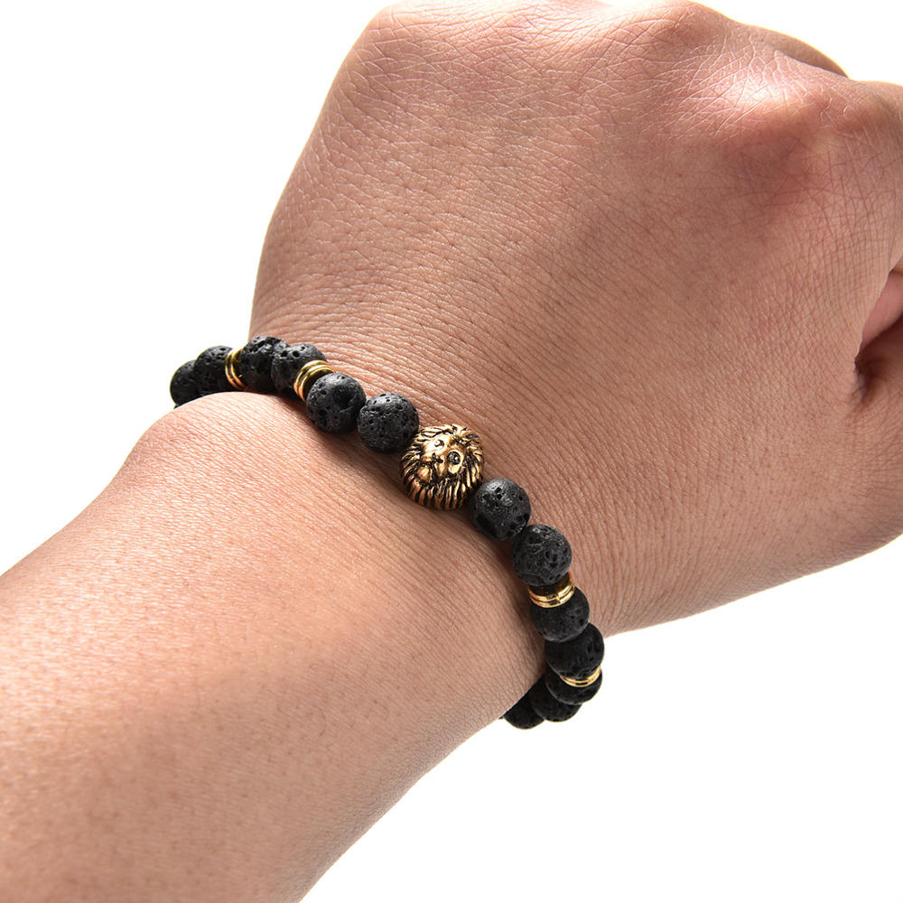 Hot Selling Gold Silver Lion Head Beads Bracelets Natural Stone Bracelets Bangles Pulseras For Women And Men Jewelry 1 PCS