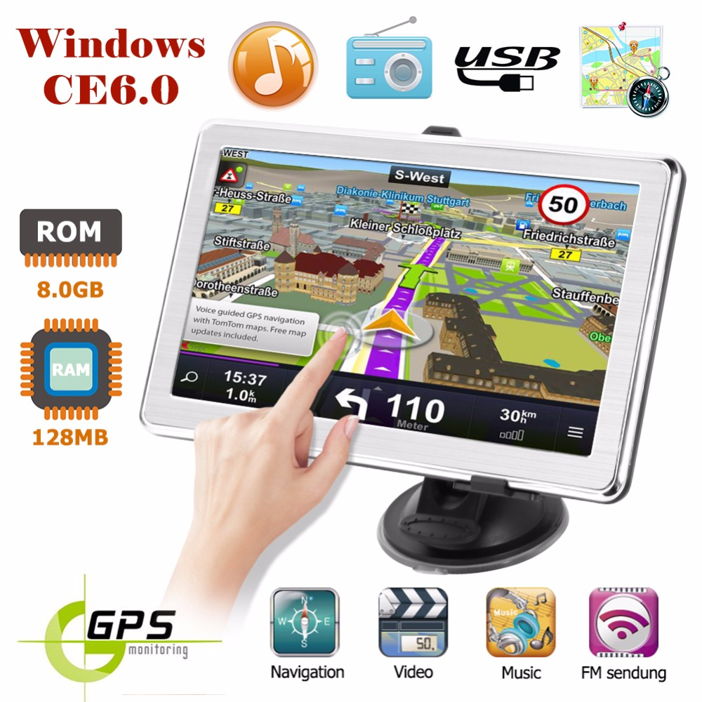 X8 7 Inch HD GPS Car Navigation 800MHz Car Truck GPS Navigation System 128M 8GB GPS