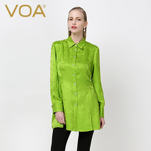 VOA  silk jacquard lapel blouse women grass green color long sleeved shirt B6105