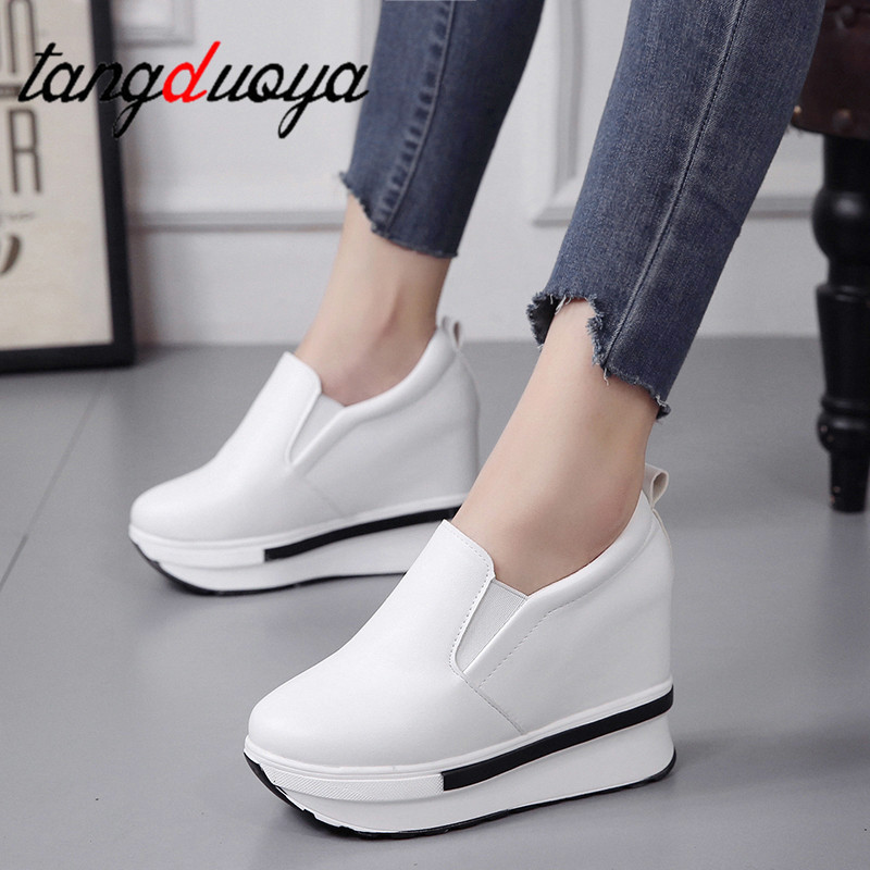Women Thick Soled Platform Shoes PU Waterproof Creepers Casual Shoes Woman platform shoes loafers women vulcanized shoes 2019