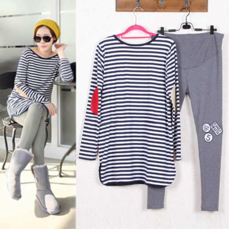 Maternity Suits Pregnant Striped Shirt + Leggings/Pants Long Sleeved T-shirt Set for Women Clothing Spring/Autumn/Winter side striped leggings