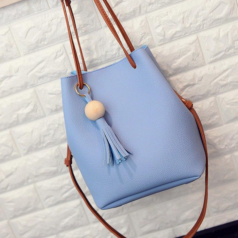 Hot Sale Women PU Leather Bucket Shoulder Bag With Small Handbag Messenger Satchel Bag MSJ99