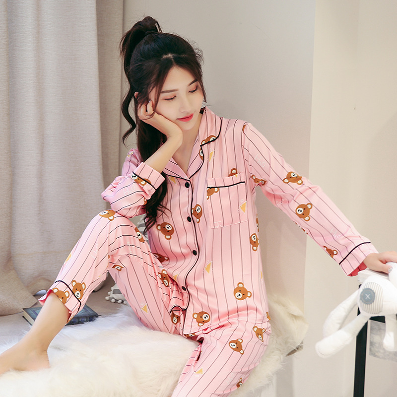 2018 New Cotton   Pajama     Sets   Women Sweet Girl Lounge Cute Sleepwear Long Sleeve Casual Nightwear Big Yards M-XXL Female Pijamas