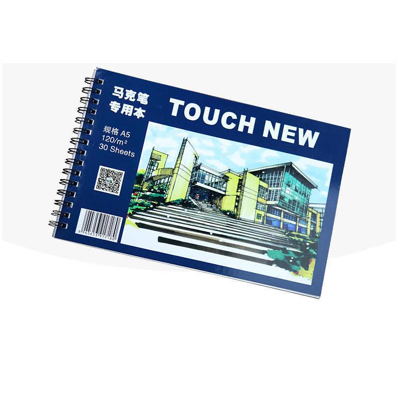 Touchnew a5 marcador almofada 30 folhas profissional sem penetração papel desenho álbum para pintura papelaria escola