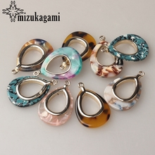 Zinc Alloy Golden Metal Colorful Resin Hollow Water Drop Charms 35*21mm 6pcs/lot For DIY Jewelry Earrings Making Accessories seuhuoran drop earrings for woman zinc alloy clip with shiny sequins resin water drip earrings big pendants jewelry brand