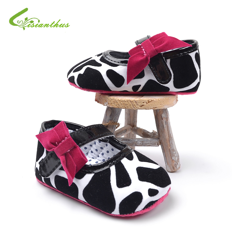 Baby Girl Princess Shoes Infant Bowknot PU Leather First Walkers Classic Black and White Fashion Baby Footwear Free Shipping