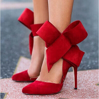 Plus Size 13 Big Bowtie Suede Leather Pointy High Heel Sandals Women 12cm Heeled Gladiator Pointed toe Sandal Shoes Drop Ship amourplato women s fashion pointed toe high heel sandals crisscross strap pumps pointy dress shoes black purple size5 13