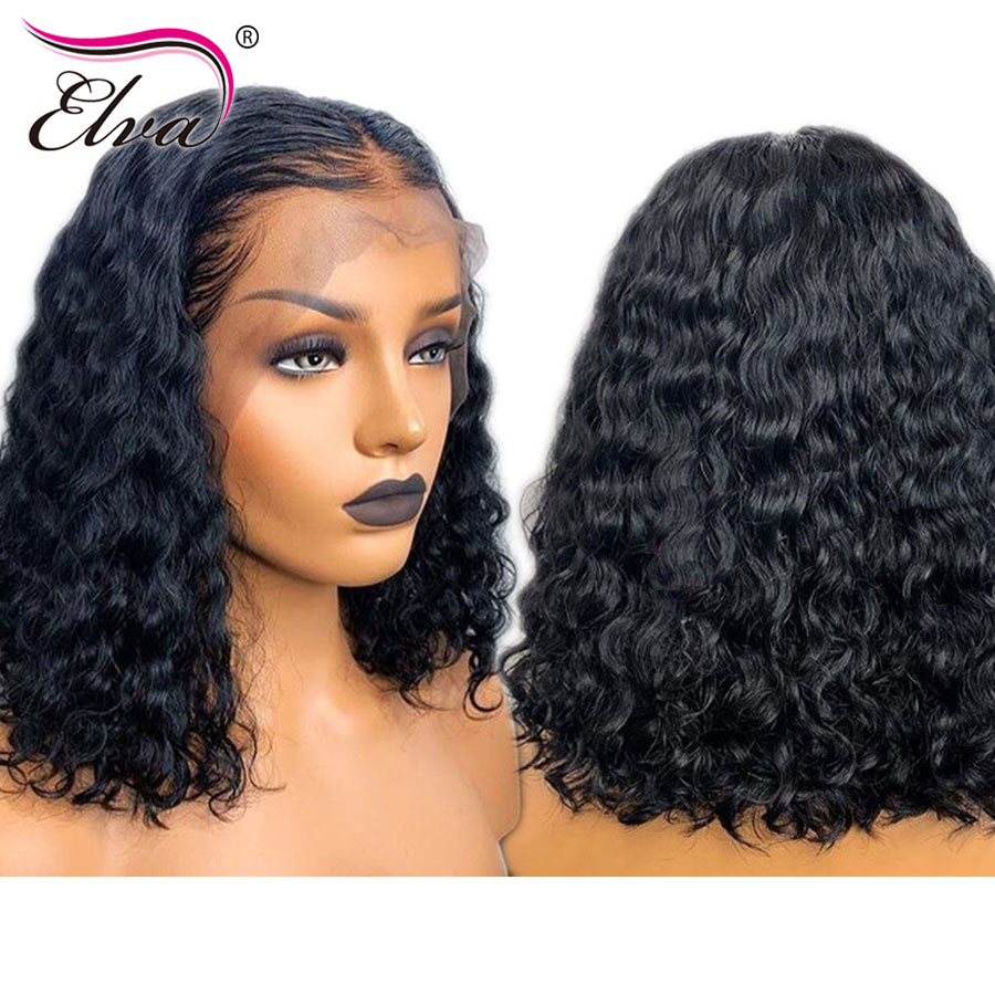 Elva Hair 13x6 Lace Front Short Human Hair Wigs Brazilian Curly Lace Wigs For Black Women Pre Plucked With Baby Hair Remy Hair