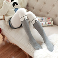 Fashion Girl Women Sexy button Tights False High Stocking Pantyhose High Knee Tattoo Tights  stripe cartoon cotton  knee