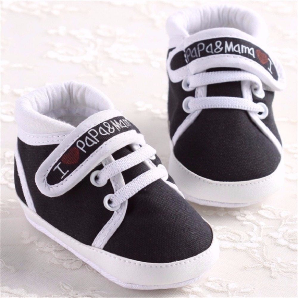 0-18 Month Newborn Infant Baby Boy Girl Cack Shoe Boots Soft Sole Canvas Sneaker Casual Novel I Love Papa And Mama Shoes