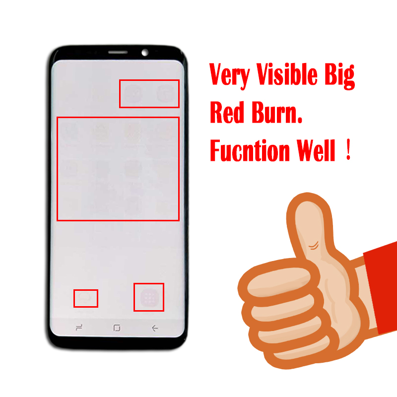 ORIGINAL Amoled S8 LCD with Frame Replacement for SAMSUNG Galaxy S8 G950F Display S8 Plus G955F Touch Screen Digitizer+Burn