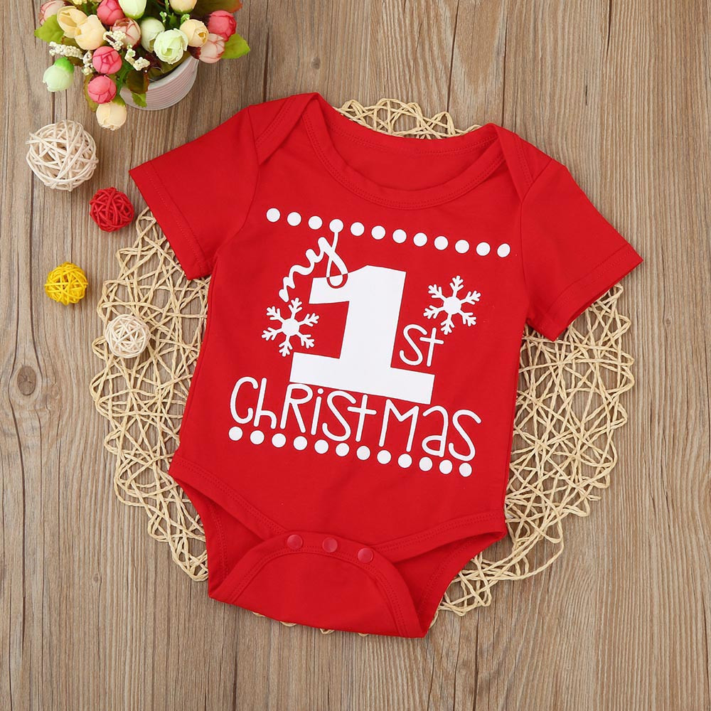 Toddler Baby Boys Bodysuit Short-Sleeve Onesie Santa Claus Play with Snowman Print Jumpsuit Winter Pajamas