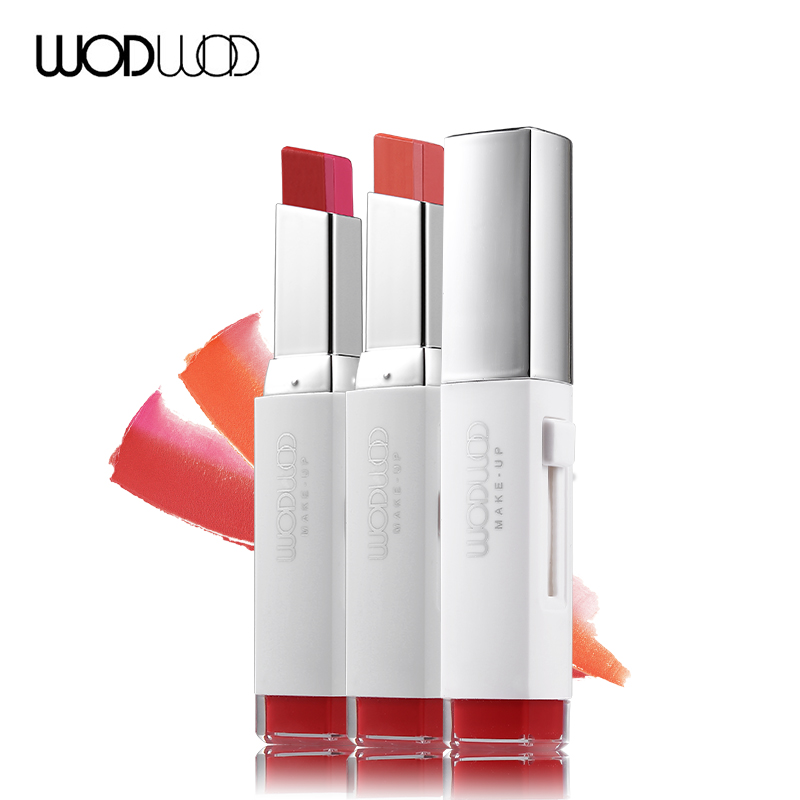 Wodwod Lips Makeup V Shaped Double Color Lipstick Silky -6926