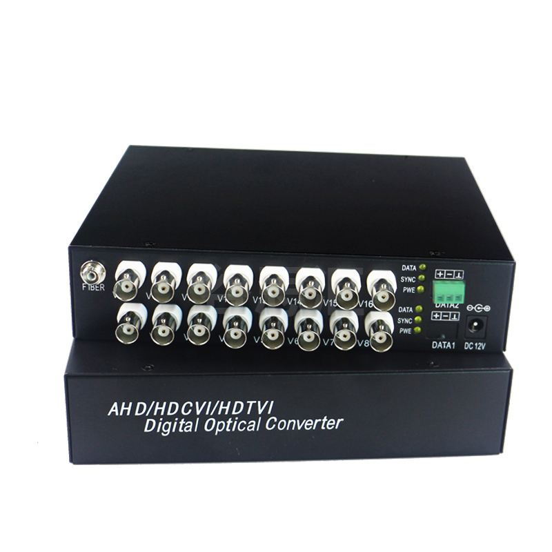 High Quality HD CVI 16 Channel Video Fiber Optical Converters +RS485 Transmitter Receiver -For 720P 960P AHD CVI HD Cameras CCTVHigh Quality HD CVI 16 Channel Video Fiber Optical Converters +RS485 Transmitter Receiver -For 720P 960P AHD CVI HD Cameras CCTV