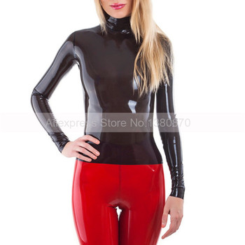 Rubber Latex  Women Blouse  Solid Black Simple Top Shirt  with Back Short Zip S-LSW017