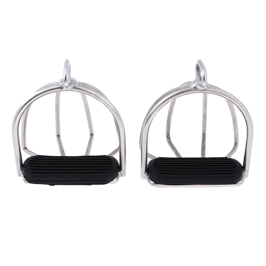 1 Pair Stainless Steel Horse Riding Safety Stirrups Iron for English Saddles
