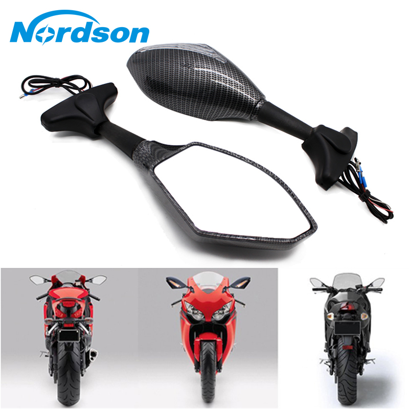 Nordson Motorcycle Rear Mirror Carbon LED Turn Signal For Honda CBR 250 600 1000 RR F3 F4 Kawasaki Ninja 250 300 ZX6R ZX10R 14R цены онлайн