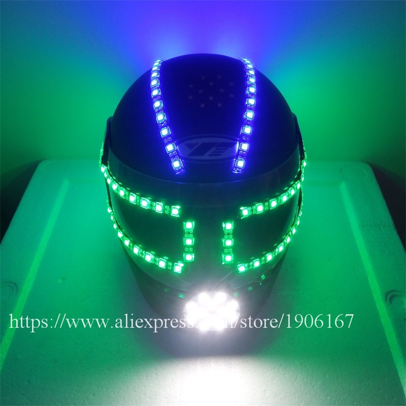 Colorful led luminous robot helmet05