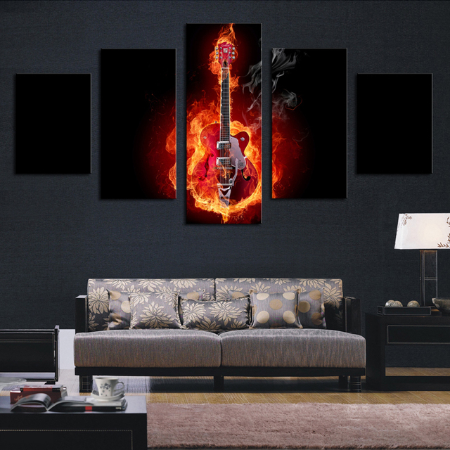 toile peinture 5 pi ce flamme guitare hd photo modern home d coration murale pour salon. Black Bedroom Furniture Sets. Home Design Ideas