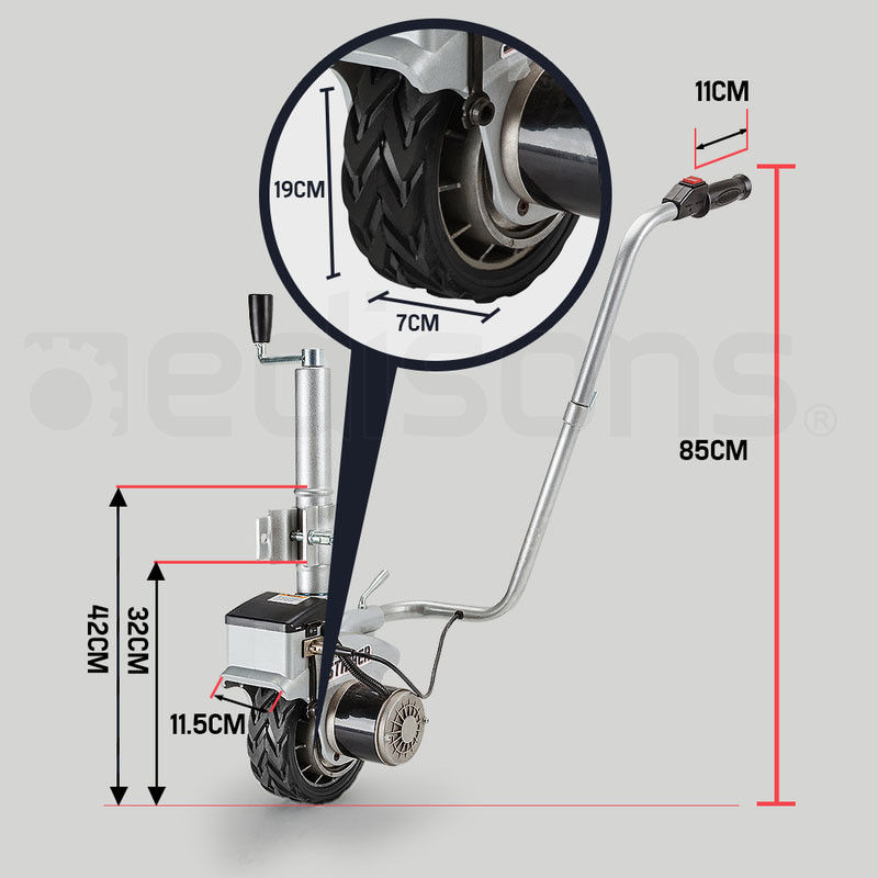 350 W roues Jockey motorisées 12 V outils de déplacement électriques faciles à manœuvrer caravane, remorque, bateau et flotteur de maison