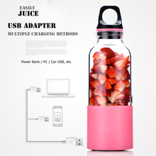2 in 1 Electric Juice Cup Portable Mini Juicer 500ml 4 Cutter Head Plastic Body to Send Bottom Cover Water Bottle