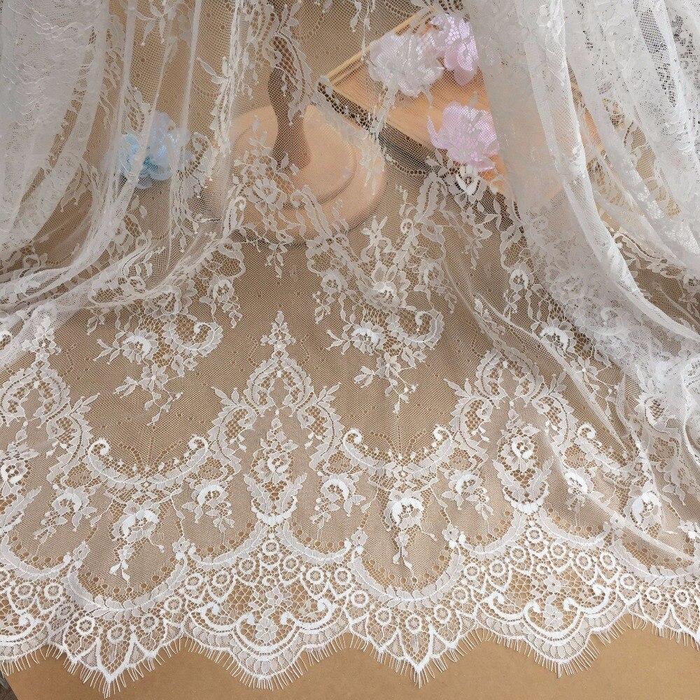 Beautiful black off white eyelash lace fabric wedding for Bridal fabric
