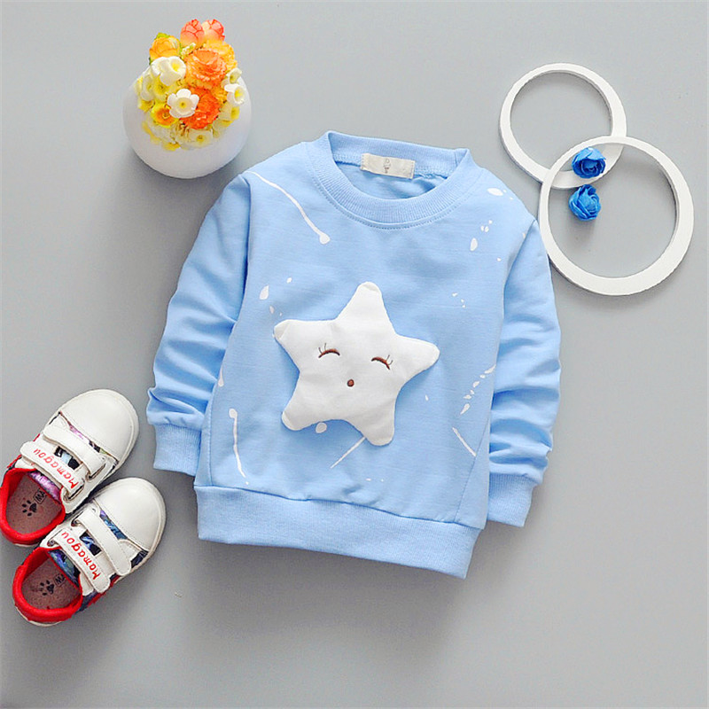 2017 new fashion tops children cartoon long sleeved T shirt all match star cotton jacket baby