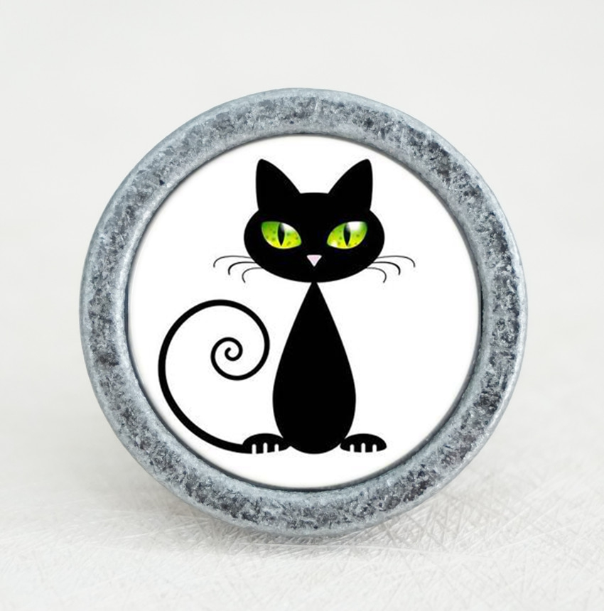 Black Cat  Knobs Dresser Handmade Drawer Handles Animal Cupboard Pulls knobs Kitchen Cabinet Furniture Hardware
