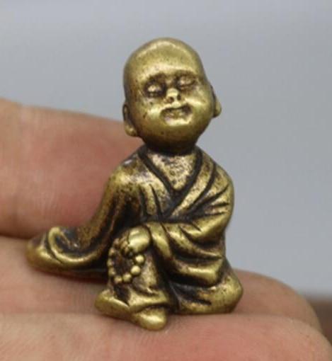 (mini) Delicate Chinesische Alte-stil Messing Geschnitzte Mönch Auspicious Statue Ein GefüHl Der Leichtigkeit Und Energie Erzeugen