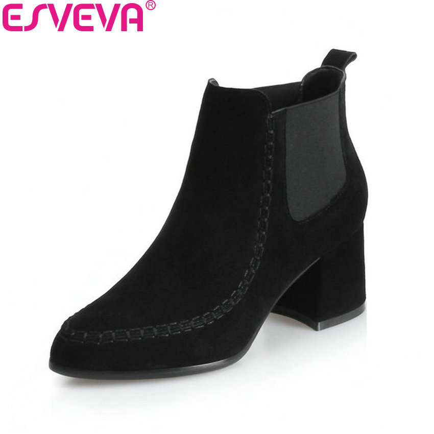 ESVEVA 2018 Women Boots Elastic Band Chunky Boots Pointed Toe Square High Heels Ankle Boots Slim Look Ladies Shoes Size 34-39 esveva 2018 women boots elegant square high heels pointed toe ankle boots appointment lining warm fur pu ladies shoes size 34 39