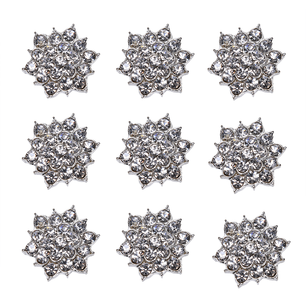 New Crystal Flower DIY Accessory Sewing Decoration Rhinestone Jewelry Buttons DIY Applique For Dress Clothes 10 Pcs/lot image