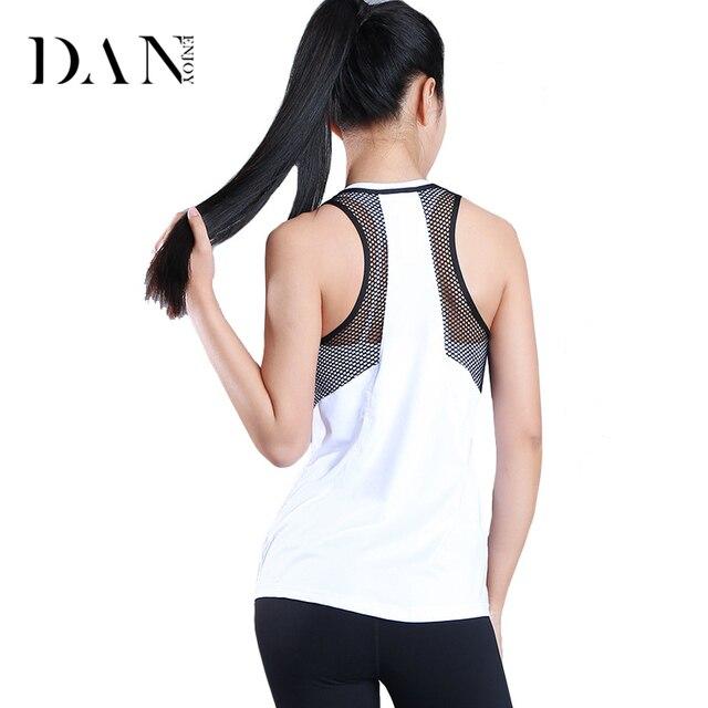266b6e7c DANENJOY Hollow Mesh Quick Dry Sports Vest Women Fitness Sleeveless Yoga T-Shirts  Gym Training Running Tank Tops Loose Blouse