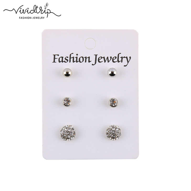 Fashion 3 Pair/Set Stud Earrings Set Imitation Pearl Crystal CCB Gold Earring Lots of Earrings For Women Girls Jewelry Wholesale