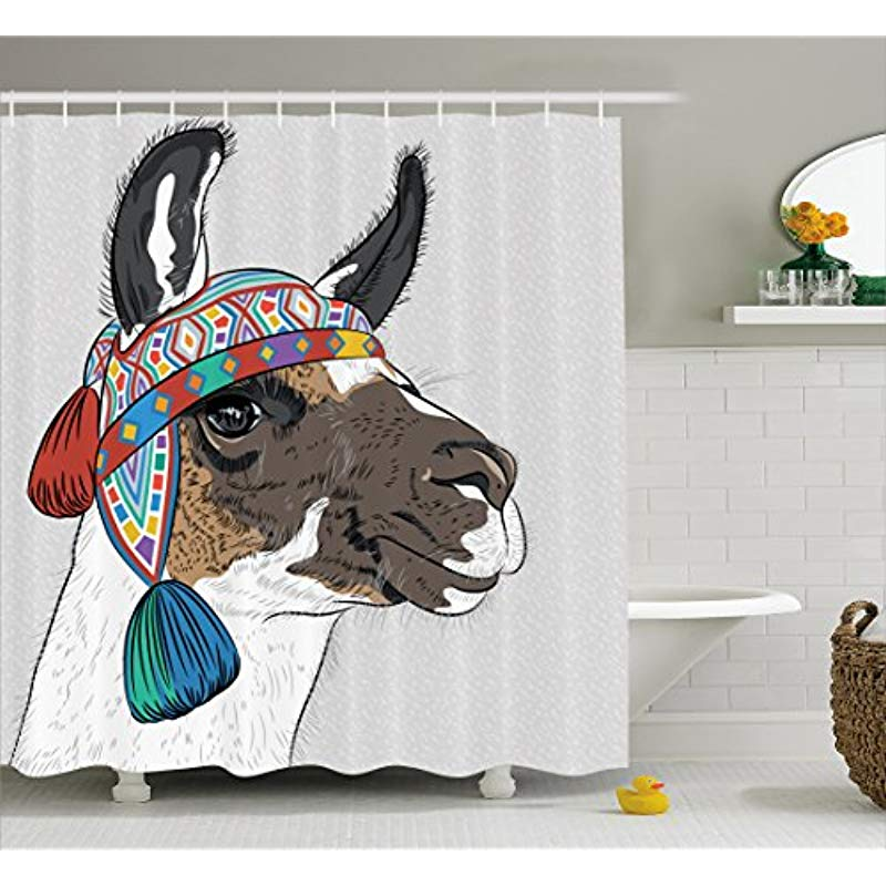 Vixm Llama Shower Curtain Alpaca With An Ethnic Colorful Hat Peruvian Sketch Style Animal Abstract Cloth Fabric Bath Curtains