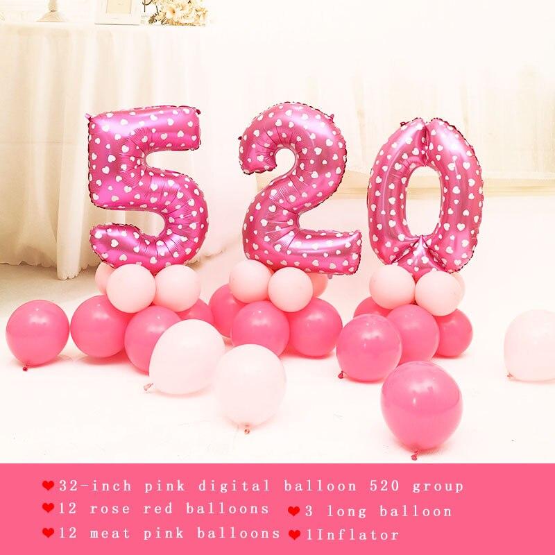 30 шт./лот розовый Фольга партии Шарики 520 любовь надувной шар из латекса DIY Свадьба День Рождения Декор воздушные шары детская комната Интимн…