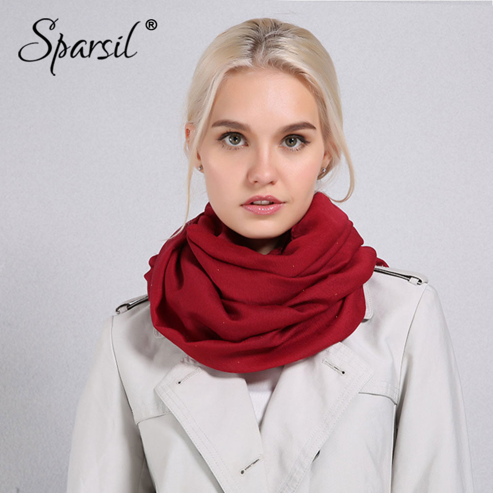 Sparsil Women Spring Shining Solid Color   Scarf   Soft Beach Shawls Autumn Female Thin   Wraps   Hijab   Scarves   180*90 cm All Match