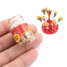 Miniature Food Dessert Sugar Mini Lollipops With Case Holder Candy For Doll House 1/12 Kitchen Furniture Toys Accessories 1:12(China)